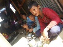 Children having their meal