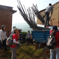 Unloading the materials at the site